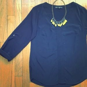 Navy Blue V-Neck Tunic with Adjustable Sleeves